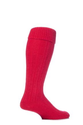 Mens 1 Pair Glenmuir Birkdale Golf Wool Knee High Socks with Turn Over Cuff Red