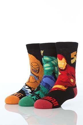Boys-3PR-Marvel-Heroes-Socks-Hulk-Iron-Man-The-Thing