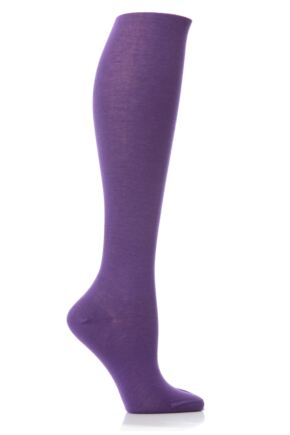 Ladies 1 Pair Elle Pearl Cotton Knee Highs Bright Purple 6.5-8