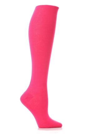 Ladies 1 Pair Elle Pearl Cotton Knee Highs Hot Pink 4-6