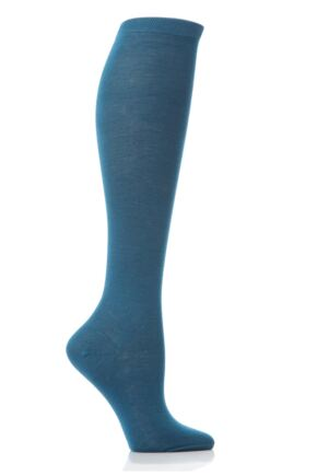 Ladies 1 Pair Elle Pearl Cotton Knee Highs Teal 6.5-8