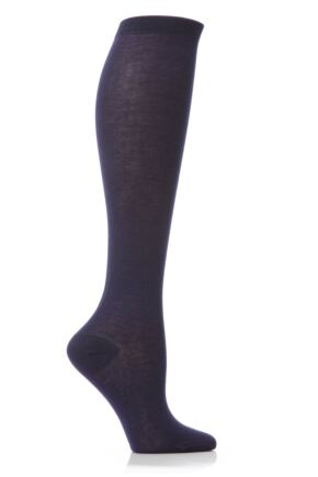 Ladies 1 Pair Elle Pearl Cotton Knee Highs Dark Navy 4-6