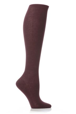 Ladies 1 Pair Elle Pearl Cotton Knee Highs Plum Brown 4-6