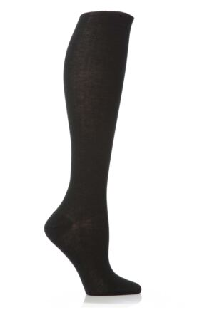 Ladies 1 Pair Elle Pearl Cotton Knee Highs Black 6.5-8