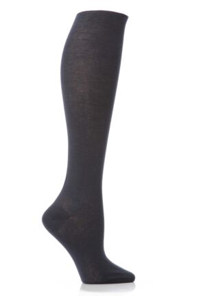 Ladies 1 Pair Elle Pearl Cotton Knee Highs Charcoal 4-6