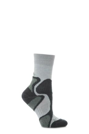 Ladies 1 Pair Bridgedale X-Hale Trailblaze Sock With Impact And Protective Padding Grey / Jade S