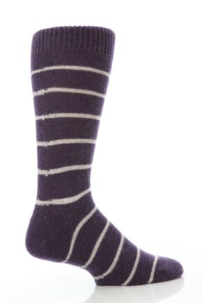 Mens 1 Pair Pantherella Cashmere Narrow Stripe Sock