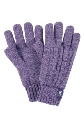 Ladies 1 Pair Heat Holders 2.3 Tog Heatweaver Yarn Gloves Purple M/L