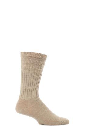 Mens 1 Pair HJ Hall Thermal Wool Softop Socks Oatmeal 6-11