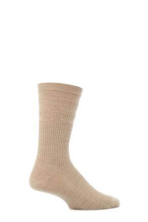 Mens 1 Pair HJ Hall Original Wool Softop Socks Oatmeal 6-11