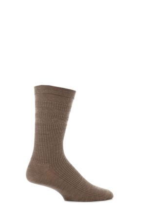 Mens 1 Pair HJ Hall Original Wool Softop Socks Taupe 6-11