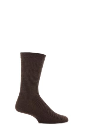 Mens 1 Pair HJ Hall Original Wool Softop Socks Dark Brown 6-11