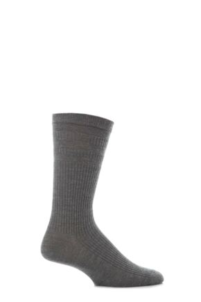 Mens 1 Pair HJ Hall Extra Wide Cotton Softop Socks Mid Grey 6-11
