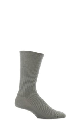 Mens 1 Pair HJ Hall Extra Wide Wool Softop Socks Mid Grey 11-13