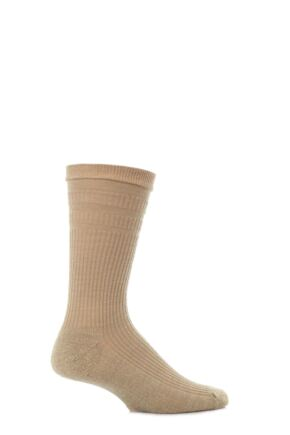 Mens 1 Pair HJ Hall Extra Wide Wool Softop Socks Oatmeal 6-11