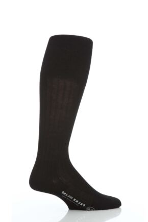 Mens 1 Pair Falke Milano 97% Cotton Knee High Socks Black 43-44