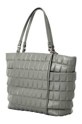 Ladies Calvin Klein Jeans Geometrical Design Leather Shopping Handbag - Sale Grey