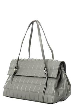 Ladies Calvin Klein Jeans Geometrical Design Leather Satchel - Sale Grey
