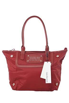 Ladies Calvin Klein Jeans Medium Nylon Shopper 60% OFF Red