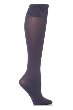 Ladies 1 Pair Trasparenze Cinzia Microfibre Knee Highs Violet