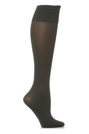 Ladies 1 Pair Trasparenze Cinzia Microfibre Knee Highs Dark Grey