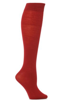 Ladies 1 Pair Trasparenze Jennifer Merino Wool Knee High Socks Wine Red