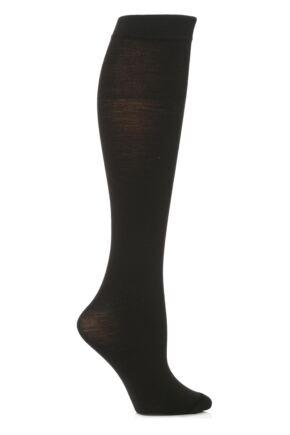 Ladies 1 Pair Trasparenze Jennifer Merino Wool Knee High Socks Black