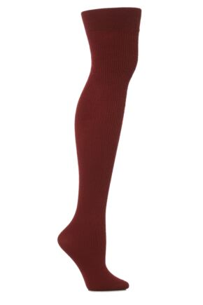Ladies 1 Pair Trasparenze Dora Ribbed Wool Over The Knee Socks Wine Red