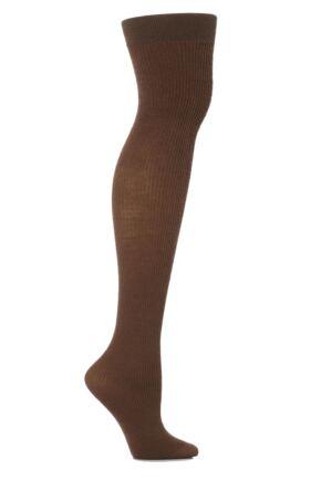 Ladies 1 Pair Trasparenze Dora Ribbed Wool Over The Knee Socks
