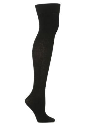 Ladies 1 Pair Trasparenze Dora Ribbed Wool Over The Knee Socks Black