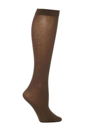 Ladies 1 Pair Trasparenze Liscio Plain Cotton Knee High Socks