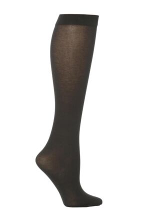 Ladies 1 Pair Trasparenze Liscio Plain Cotton Knee High Socks Dark Grey