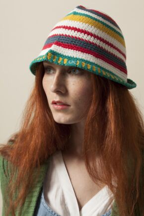 Ladies Urban Knit Bright Stripe Festival Sun Hat  75% OFF