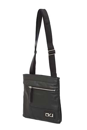 Mens Calvin Klein Jeans Flat Leather Crossover Bag - Sale Black