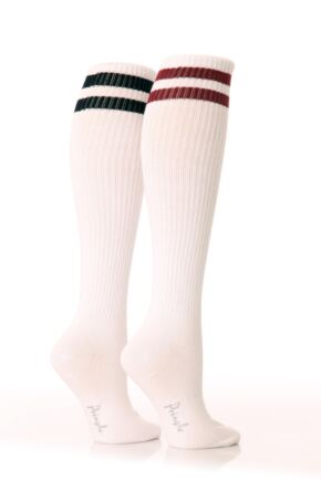 Ladies 2 Pair Pringle Emma Sporty Rib Knee Highs White
