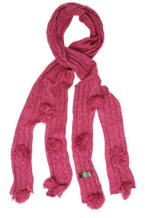 Ladies Bewitched Pompom Scarf 75% OFF Fuchsia