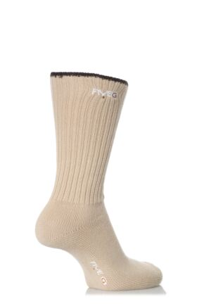 Mens 2 Pair FiveG Narrow Rib Comfort Cuff Socks made with Fairtrade Cotton Sand