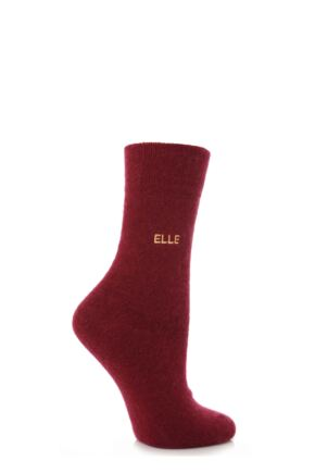 Ladies 1 Pair Elle Plain Angora Socks Red Wine