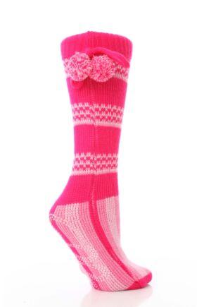 Ladies 1 Pair Elle Stripe Bootie With Pom Pom Tie 25% OFF This Style Pink