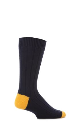 Scott Nichol Cotton Rib With Contrast Heel And Toe Socks