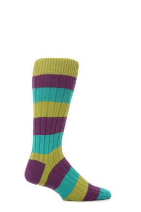Mens 1 Pair Scott Nichol Cotton Rib Block Stripe Socks Envy M