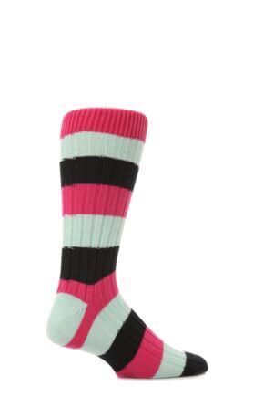Mens 1 Pair Scott Nichol Cotton Rib Block Stripe Socks Clematis M