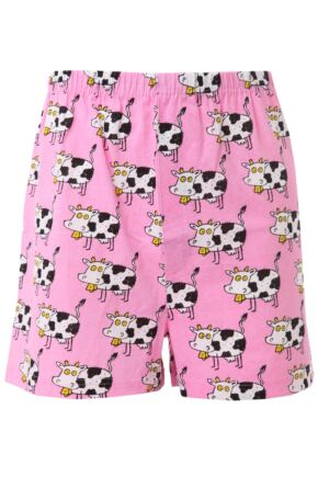 Mens 1 Pair Magic Boxer Shorts In Cow Pattern Cow L