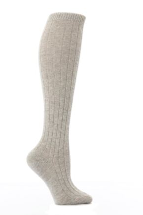 Ladies 1 Pair Pantherella 85% Cashmere Rib Knee High Light Grey