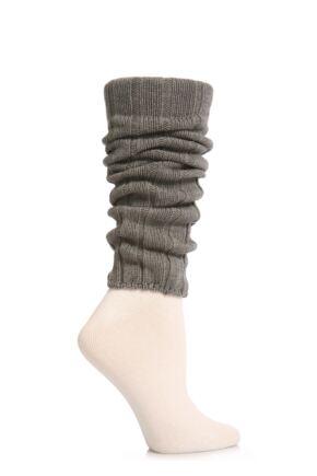 Ladies 1 Pair Falke Liz Cotton Rib Legwarmers Grey