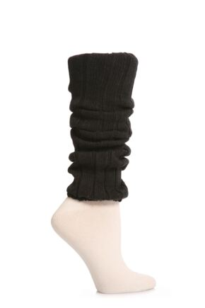 Ladies 1 Pair Falke Liz Cotton Rib Legwarmers Anthracite