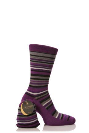 Mens 1 Pair SockShop Bamboo Stripe Socks in a Bag with Smooth Toe Seams Purple 6-11