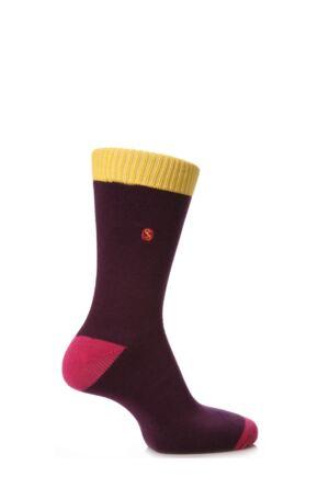 Mens 1 Pair SockShop Contrast Colour Burst Socks Violet 11-14