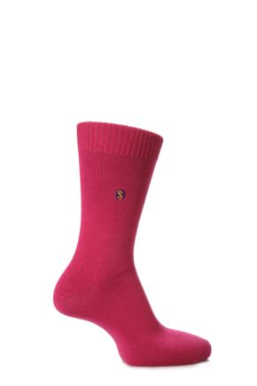 Mens 1 Pair SockShop Colour Burst Cotton Socks with Smooth Toe Seams Sapphire Pink 11-14