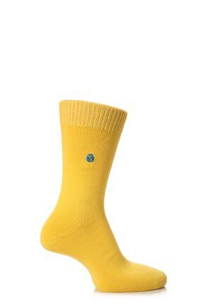 Mens 1 Pair SockShop Colour Burst Cotton Socks Mustard 11-14